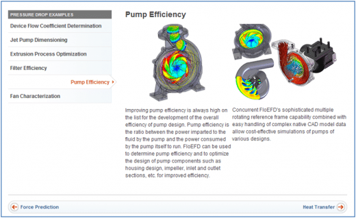 Pump Efficiency Prediction with FloEFD Concurrent CFD