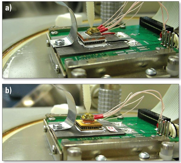 Figure 3. Photos of the test system with a) an Al2O3-based TEC and large experimental heat spreader as shown schematically in Figure 2 and b) a TCPCB-based TEC and small experimental heat spreader installed.